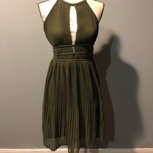 Olive rippled peek-a-boo dress